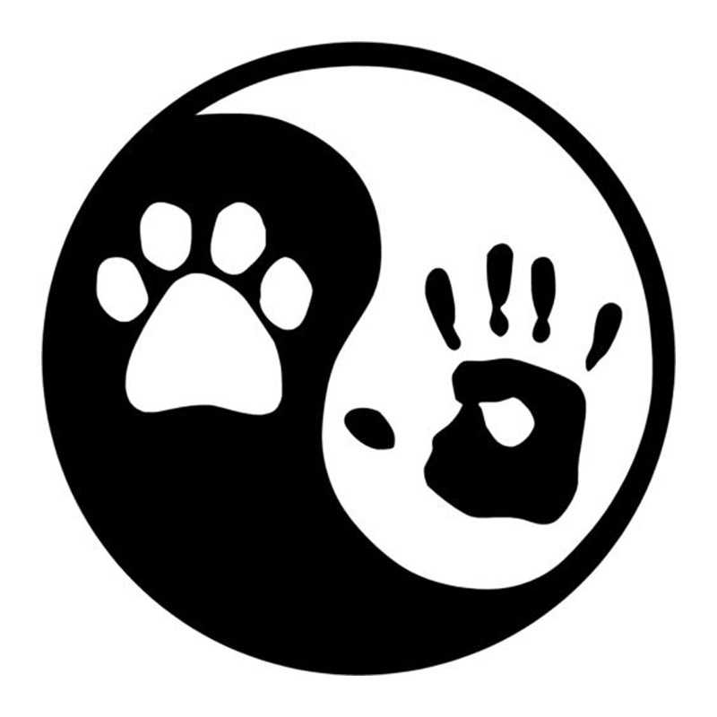 13 3 13 3cm yin and yang dog palm personalized car stickers car styling fashion accessories